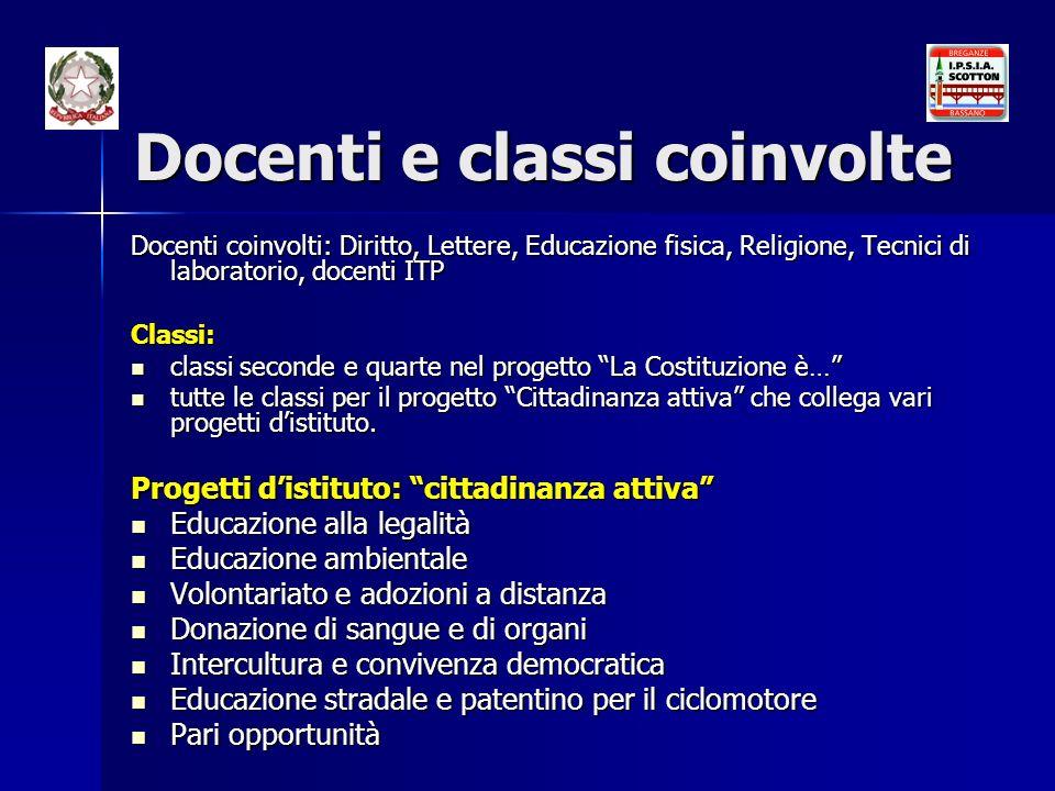 Docenti e classi coinvolte Docenti coinvolti: Diritto, Lettere, Educazione fisica, Religione, Tecnici di laboratorio, docenti ITP Classi: classi secon