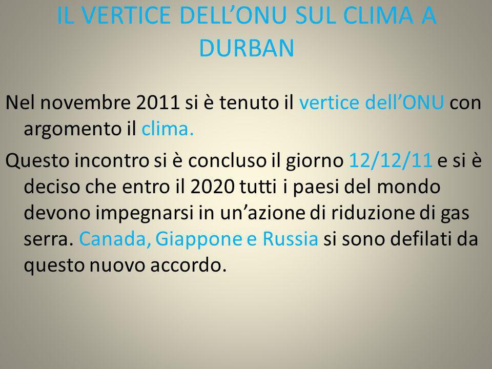 IL VERTICE DELLONU SUL CLIMA A DURBAN Nel novembre 2011 si è tenuto il vertice dellONU con argomento il clima. Questo incontro si è concluso il giorno