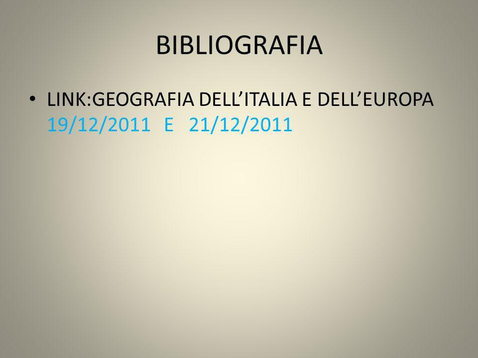BIBLIOGRAFIA LINK:GEOGRAFIA DELLITALIA E DELLEUROPA 19/12/2011 E 21/12/2011