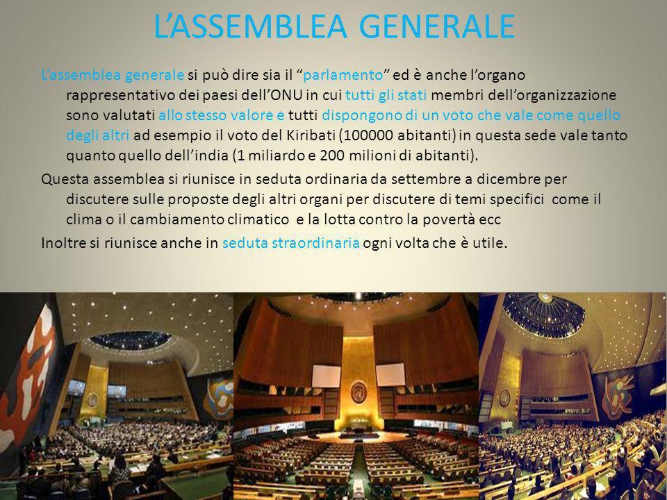 LASSEMBLEA GENERALE Lassemblea generale si può dire sia il parlamento ed è anche lorgano rappresentativo dei paesi dellONU in cui tutti gli stati memb