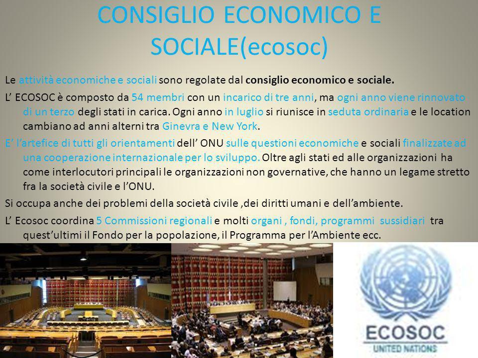 CONSIGLIO ECONOMICO E SOCIALE(ecosoc) Le attività economiche e sociali sono regolate dal consiglio economico e sociale. L ECOSOC è composto da 54 memb