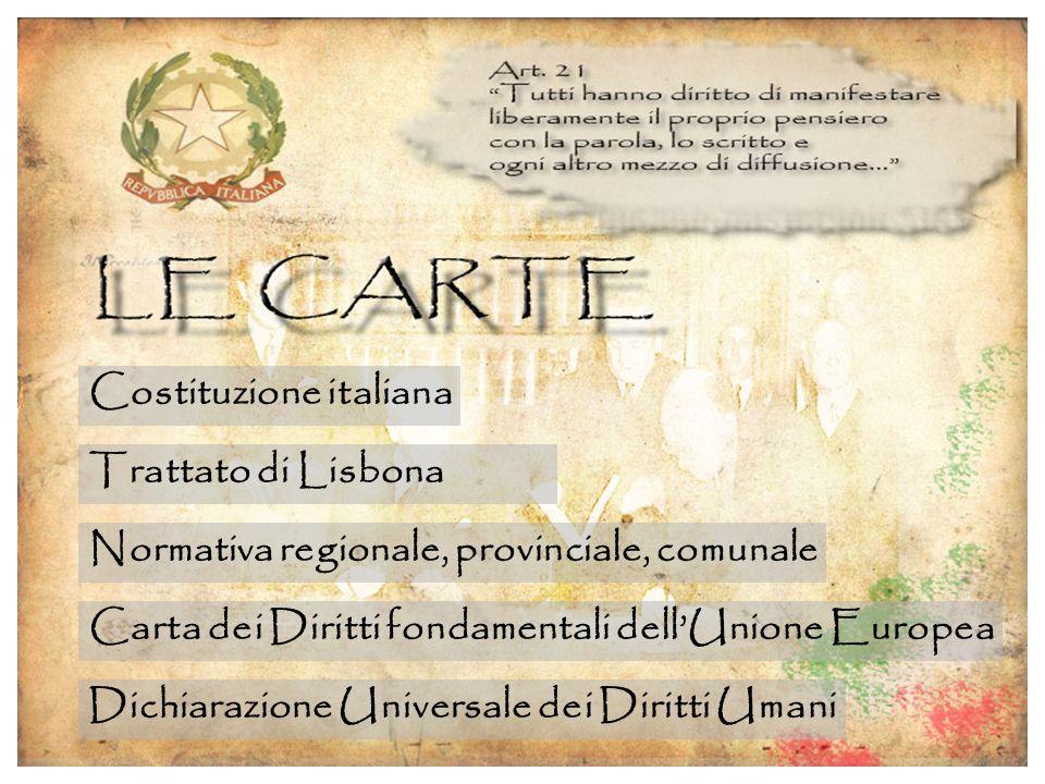 Costituzione italiana Trattato di Lisbona Normativa regionale, provinciale, comunale Carta dei Diritti fondamentali dellUnione Europea Dichiarazione Universale dei Diritti Umani