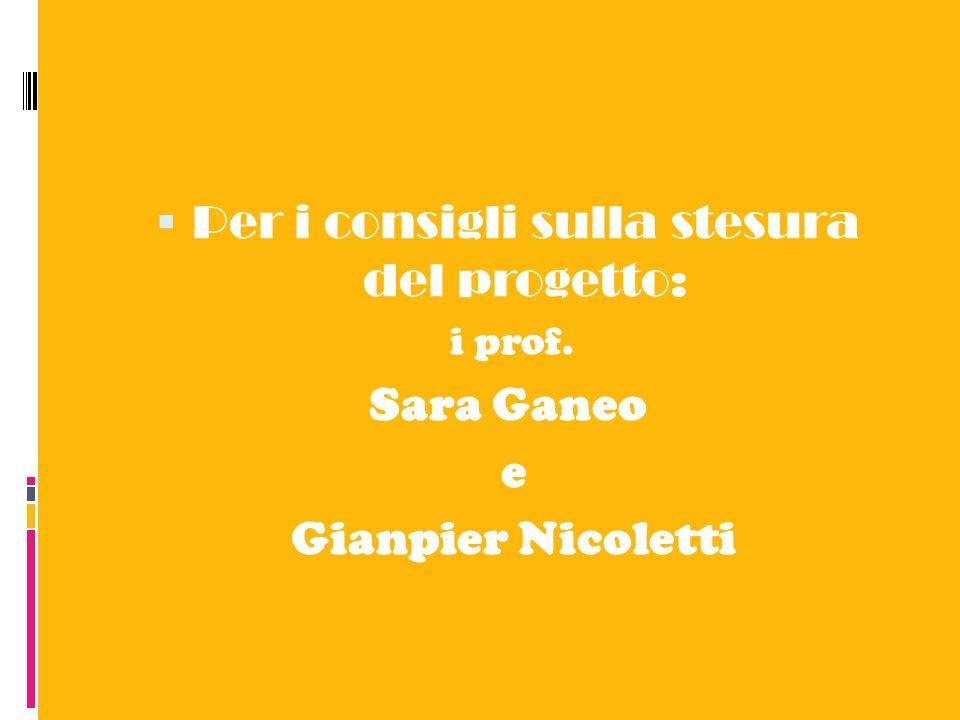 Per i consigli sulla stesura del progetto: i prof. Sara Ganeo e Gianpier Nicoletti