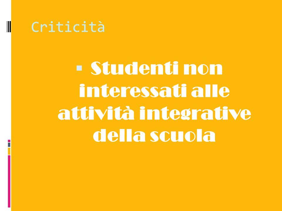 Criticità Studenti non interessati alle attività integrative della scuola