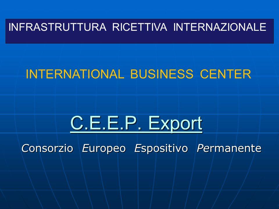 C.E.E.P. Export C.E.E.P. Export Consorzio Europeo Espositivo Permanente Consorzio Europeo Espositivo Permanente INFRASTRUTTURA RICETTIVA INTERNAZIONAL