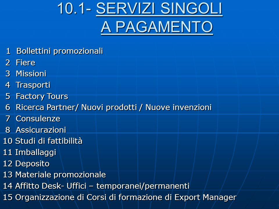 10.1- SERVIZI SINGOLI A PAGAMENTO 1 Bollettini promozionali 1 Bollettini promozionali 2 Fiere 2 Fiere 3 Missioni 3 Missioni 4 Trasporti 4 Trasporti 5