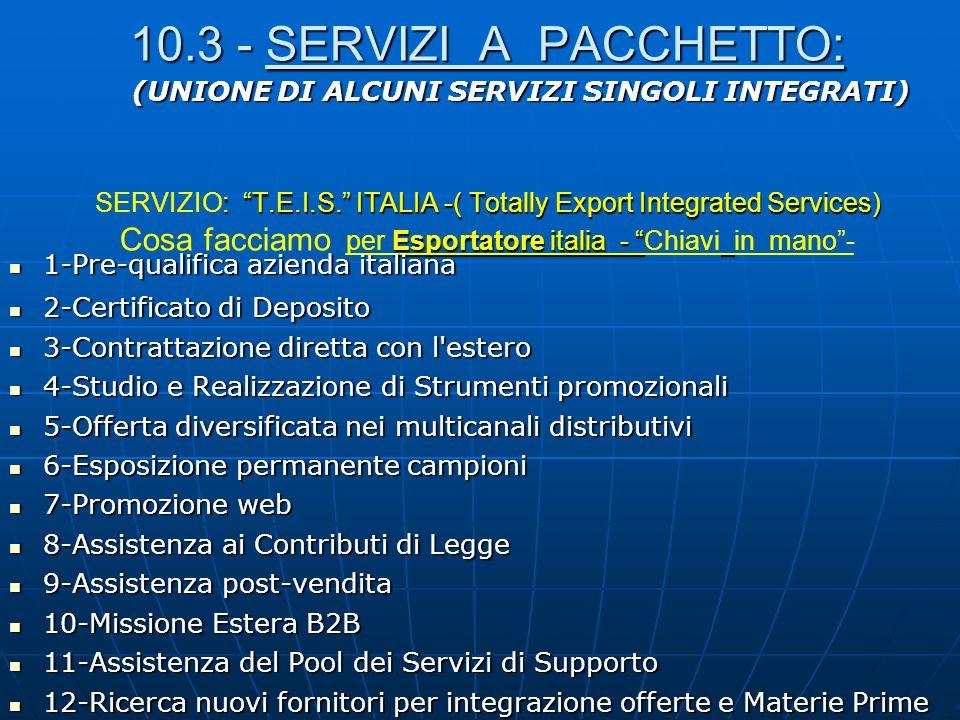 10.3 - SERVIZI A PACCHETTO: : T.E.I.S. ITALIA -( Totally Export Integrated Services) Esportatore italia - 10.3 - SERVIZI A PACCHETTO: SERVIZIO: T.E.I.