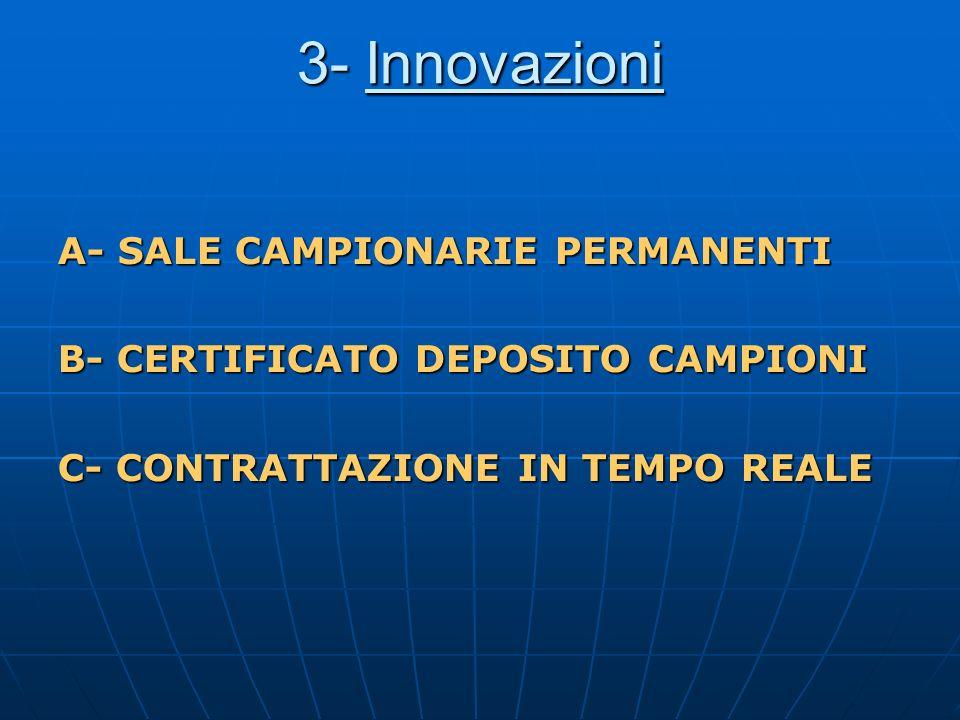 3- Innovazioni A- SALE CAMPIONARIE PERMANENTI B- CERTIFICATO DEPOSITO CAMPIONI C- CONTRATTAZIONE IN TEMPO REALE