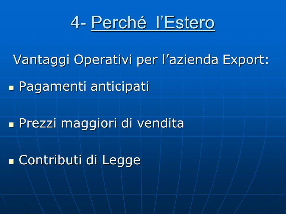 4- Perché lEstero Vantaggi Operativi per lazienda Export: Vantaggi Operativi per lazienda Export: Pagamenti anticipati Pagamenti anticipati Prezzi mag