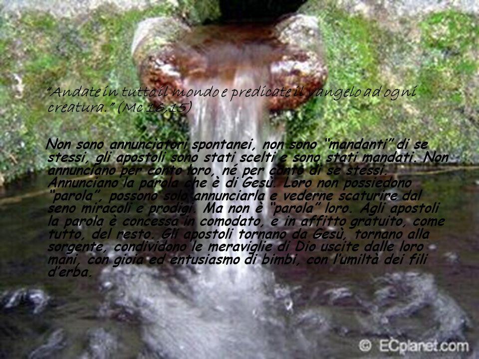 Andate in tutto il mondo e predicate il vangelo ad ogni creatura. (Mc 16,15) Non sono annunciatori spontanei, non sono mandanti di se stessi, gli apos