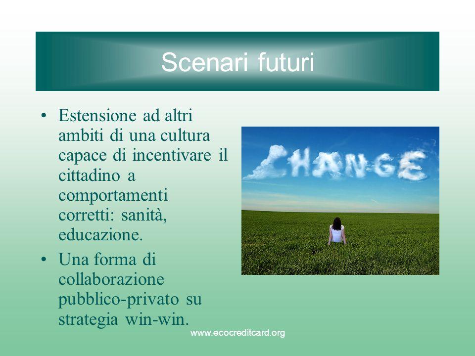 www.ecocreditcard.org Scenari futuri Estensione ad altri ambiti di una cultura capace di incentivare il cittadino a comportamenti corretti: sanità, ed