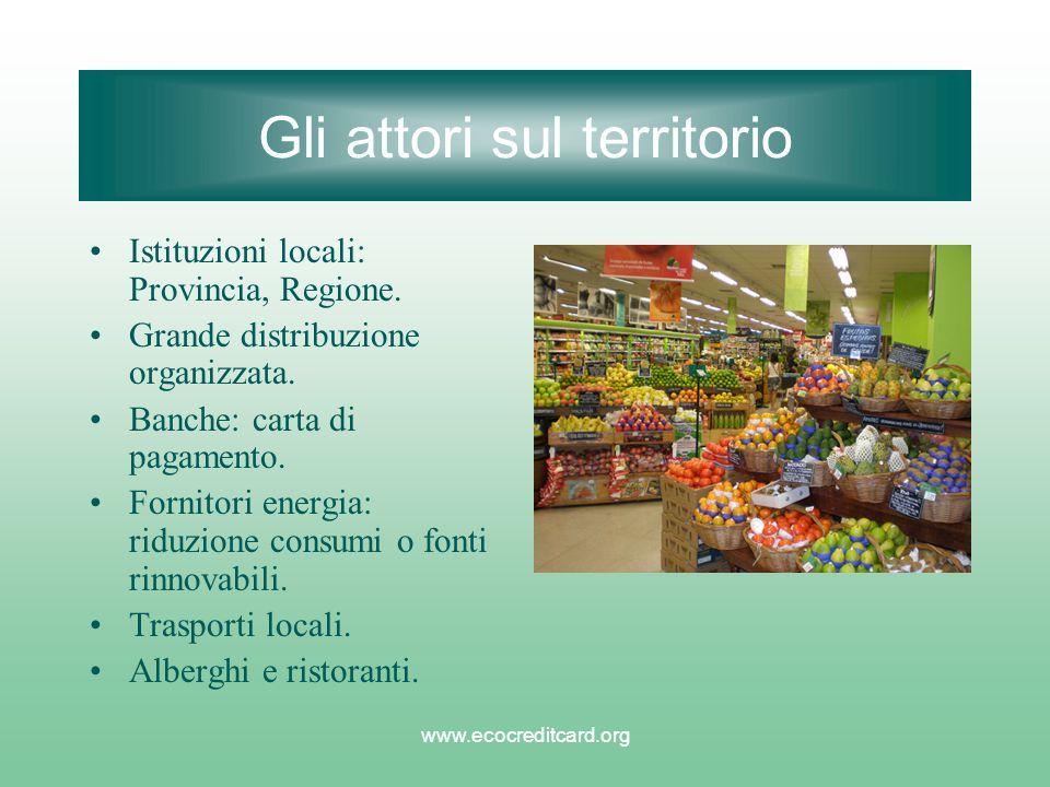 www.ecocreditcard.org Gli attori sul territorio Istituzioni locali: Provincia, Regione. Grande distribuzione organizzata. Banche: carta di pagamento.