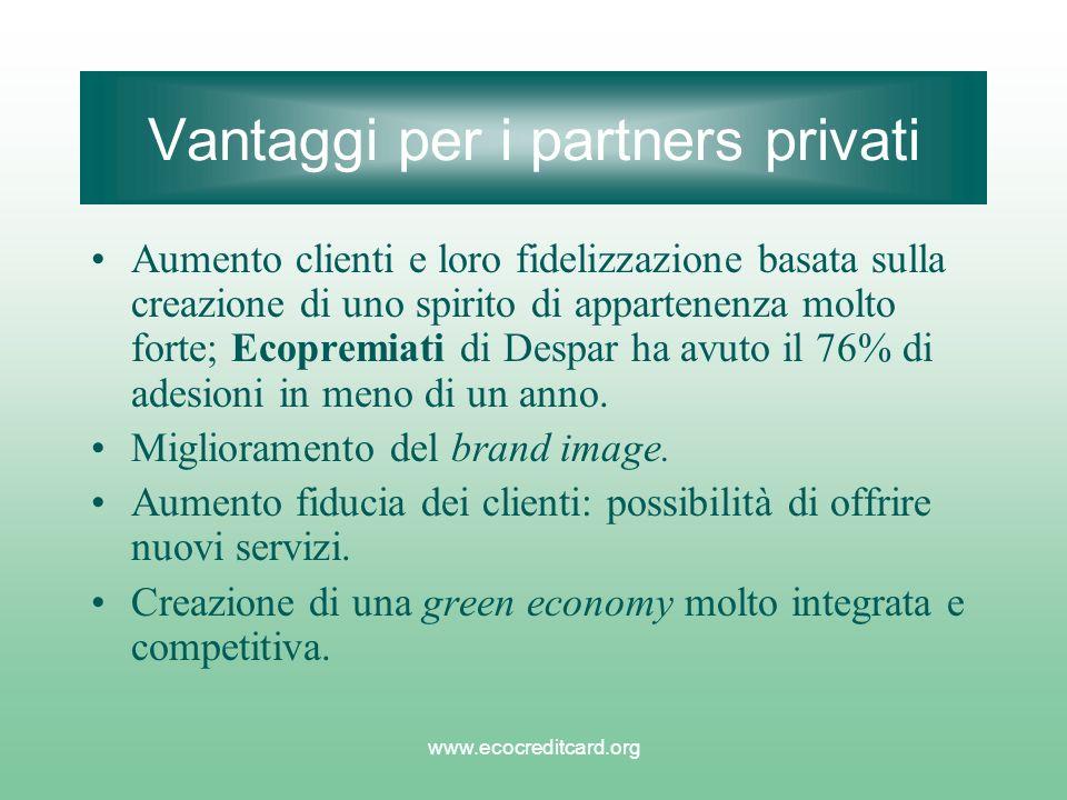 www.ecocreditcard.org Vantaggi per i partners privati Aumento clienti e loro fidelizzazione basata sulla creazione di uno spirito di appartenenza molto forte; Ecopremiati di Despar ha avuto il 76% di adesioni in meno di un anno.