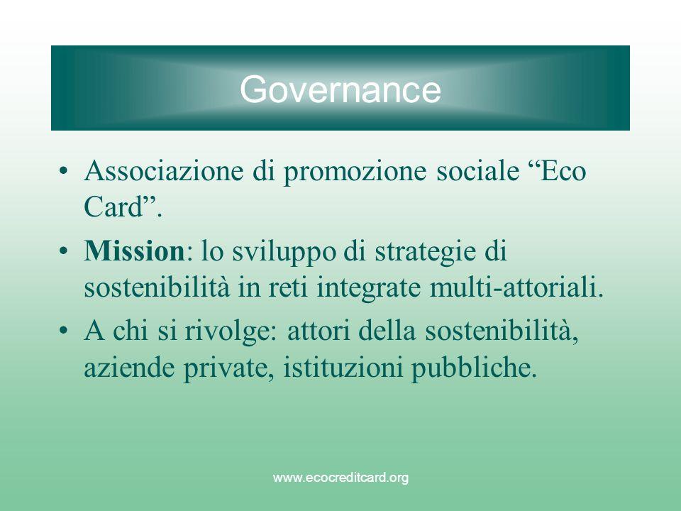 www.ecocreditcard.org Governance Associazione di promozione sociale Eco Card. Mission: lo sviluppo di strategie di sostenibilità in reti integrate mul