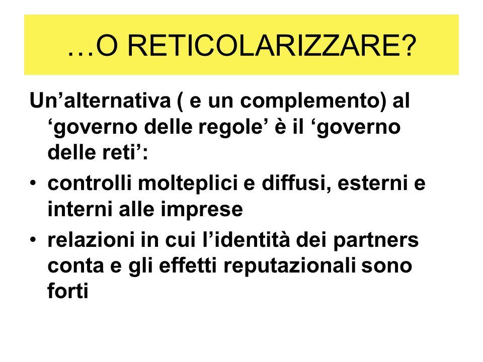 …O RETICOLARIZZARE? Unalternativa ( e un complemento) al governo delle regole è il governo delle reti: controlli molteplici e diffusi, esterni e inter