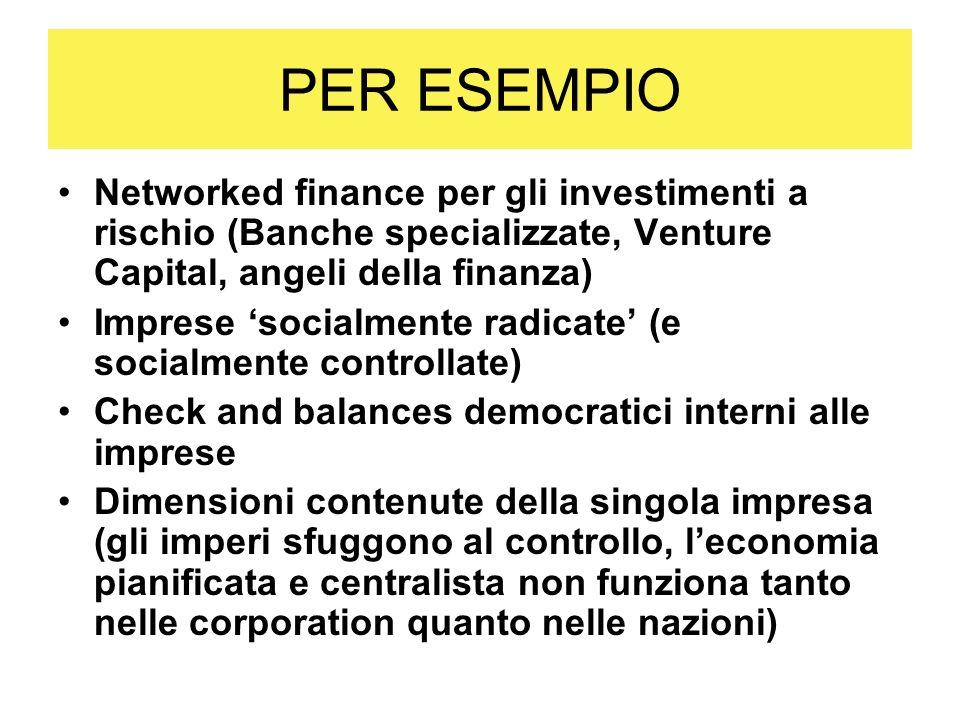 PER ESEMPIO Networked finance per gli investimenti a rischio (Banche specializzate, Venture Capital, angeli della finanza) Imprese socialmente radicat