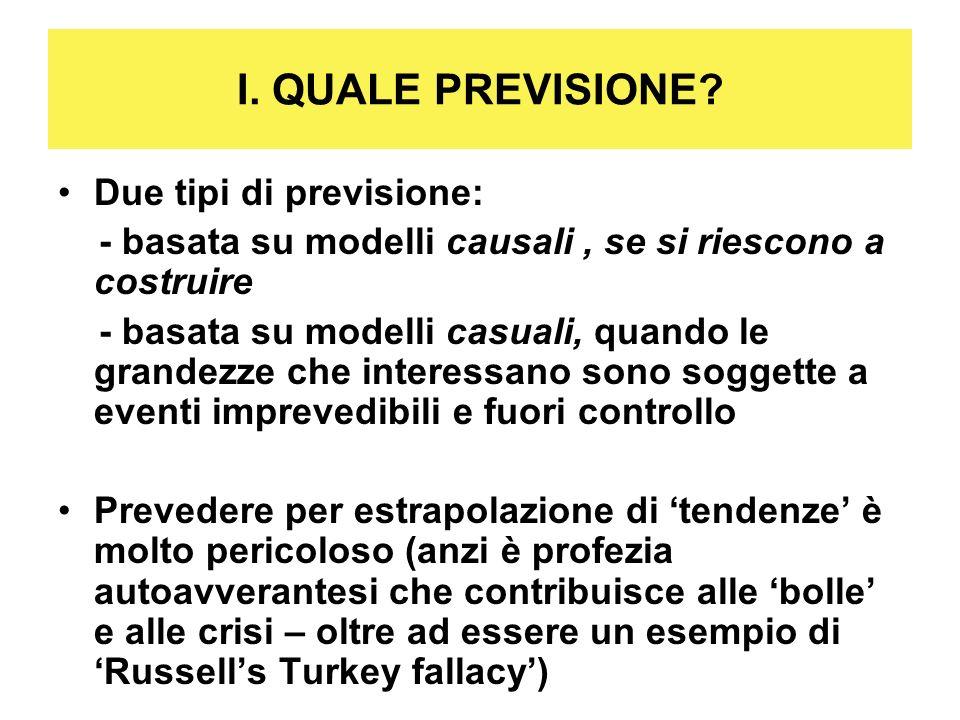 I. QUALE PREVISIONE? Due tipi di previsione: - basata su modelli causali, se si riescono a costruire - basata su modelli casuali, quando le grandezze