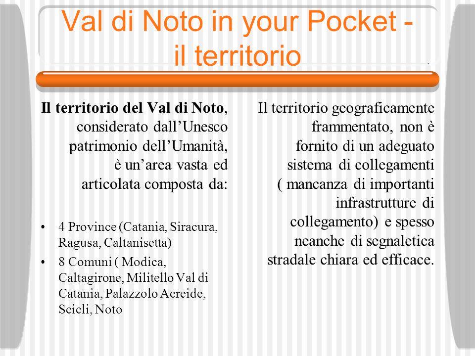 Val di Noto in your Pocket - il territorio Lidea del progetto è quindi di individuare e mappare larea che delimita il Val di Noto per restituire ai suoi cittadini nonché alla fruizione dei turisti, un identità e visibilità coesa.