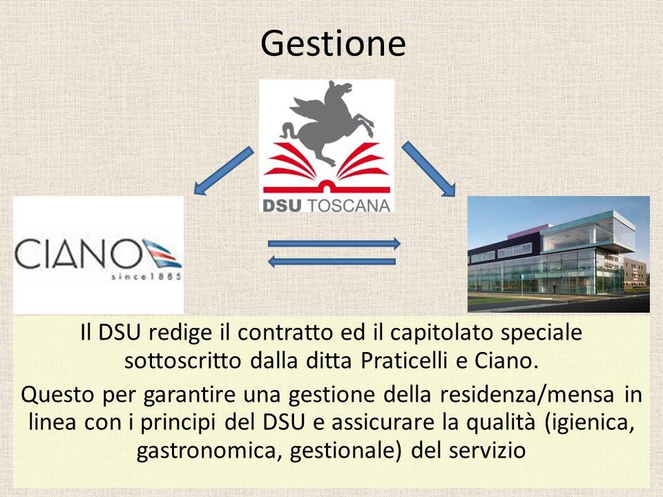 Gestione Il DSU redige il contratto ed il capitolato speciale sottoscritto dalla ditta Praticelli e Ciano. Questo per garantire una gestione della res
