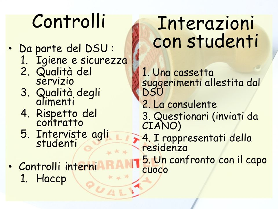 Controlli Da parte del DSU : 1.Igiene e sicurezza 2.Qualità del servizio 3.Qualità degli alimenti 4.Rispetto del contratto 5.Interviste agli studenti