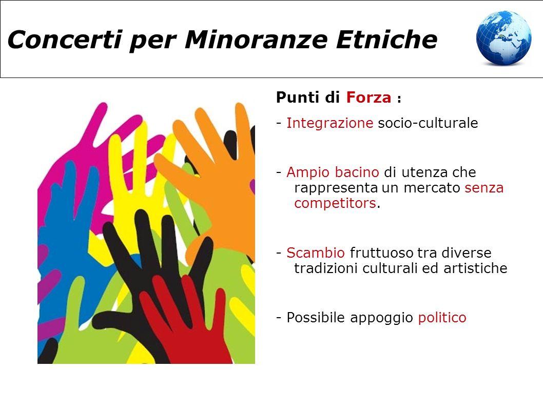 Concerti per Minoranze Etniche Punti di Forza : - Integrazione socio-culturale - Ampio bacino di utenza che rappresenta un mercato senza competitors.