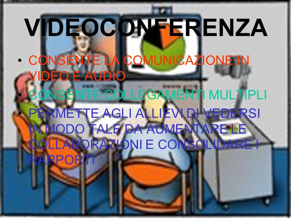 VIDEOCONFERENZA CONSENTE LA COMUNICAZIONE IN VIDEO E AUDIO CONSENTE COLLEGAMENTI MULTIPLI PERMETTE AGLI ALLIEVI DI VEDERSI IN MODO TALE DA AUMENTARE L