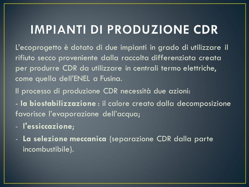 Lecoprogetto è dotato di due impianti in grado di utilizzare il rifiuto secco proveniente dalla raccolta differenziata creata per produrre CDR da utilizzare in centrali termo elettriche, come quella dellENEL a Fusina.