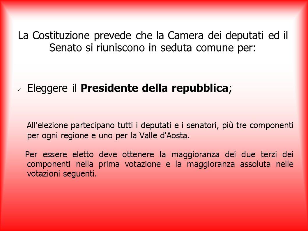 Eleggere il Presidente della repubblica; All'elezione partecipano tutti i deputati e i senatori, più tre componenti per ogni regione e uno per la Vall