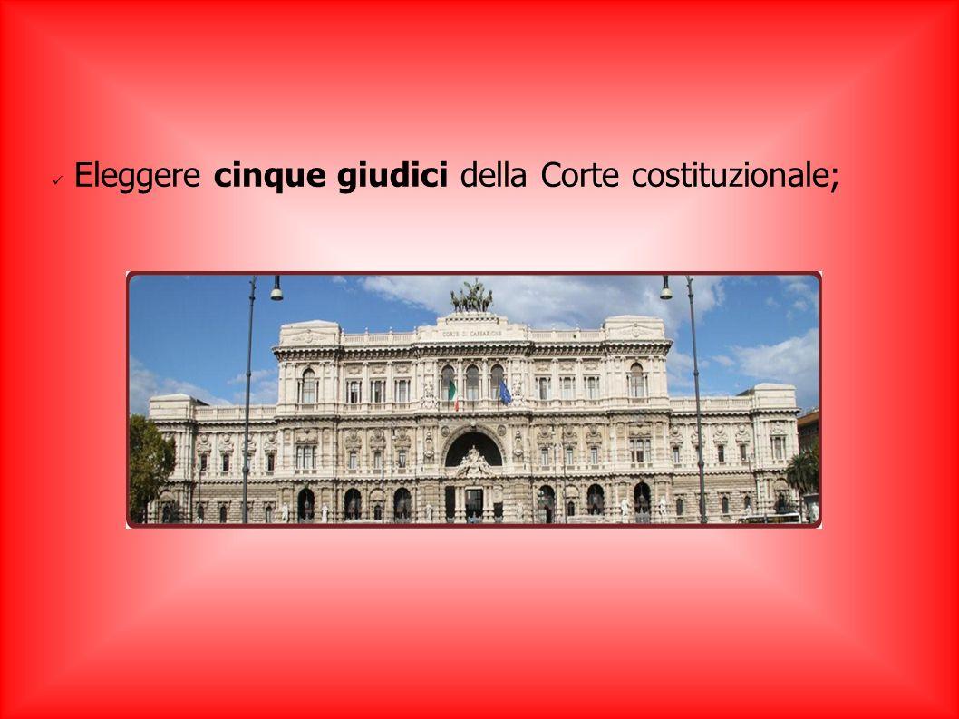 Eleggere cinque giudici della Corte costituzionale;