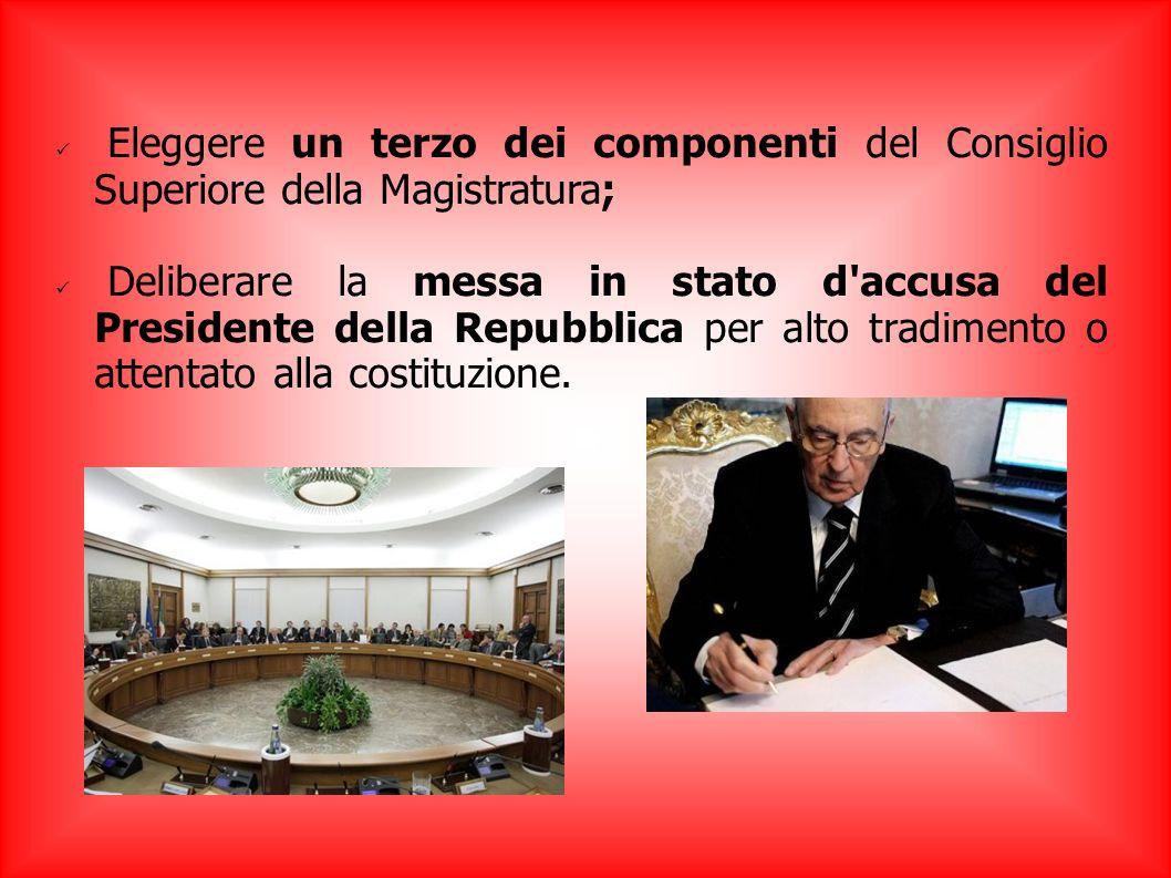 Eleggere un terzo dei componenti del Consiglio Superiore della Magistratura; Deliberare la messa in stato d'accusa del Presidente della Repubblica per