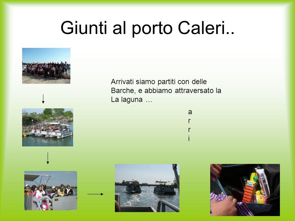 Giunti al porto Caleri.. arriarri Arrivati siamo partiti con delle Barche, e abbiamo attraversato la La laguna …