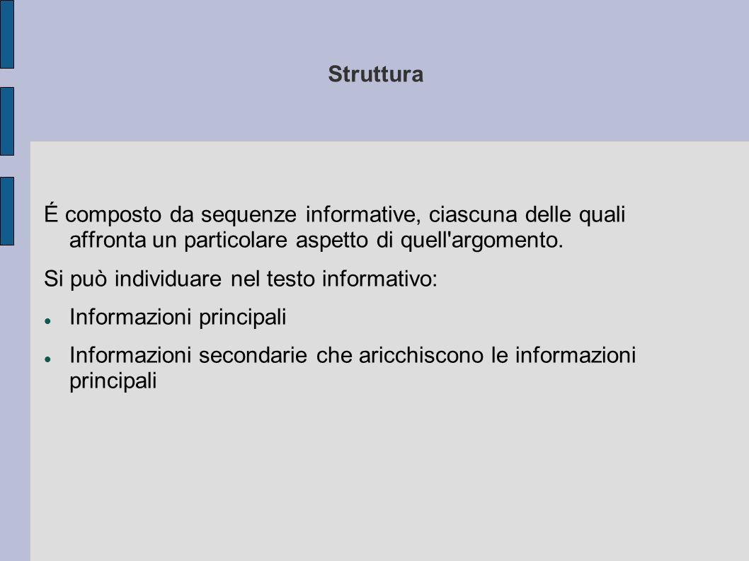 Struttura É composto da sequenze informative, ciascuna delle quali affronta un particolare aspetto di quell'argomento. Si può individuare nel testo in