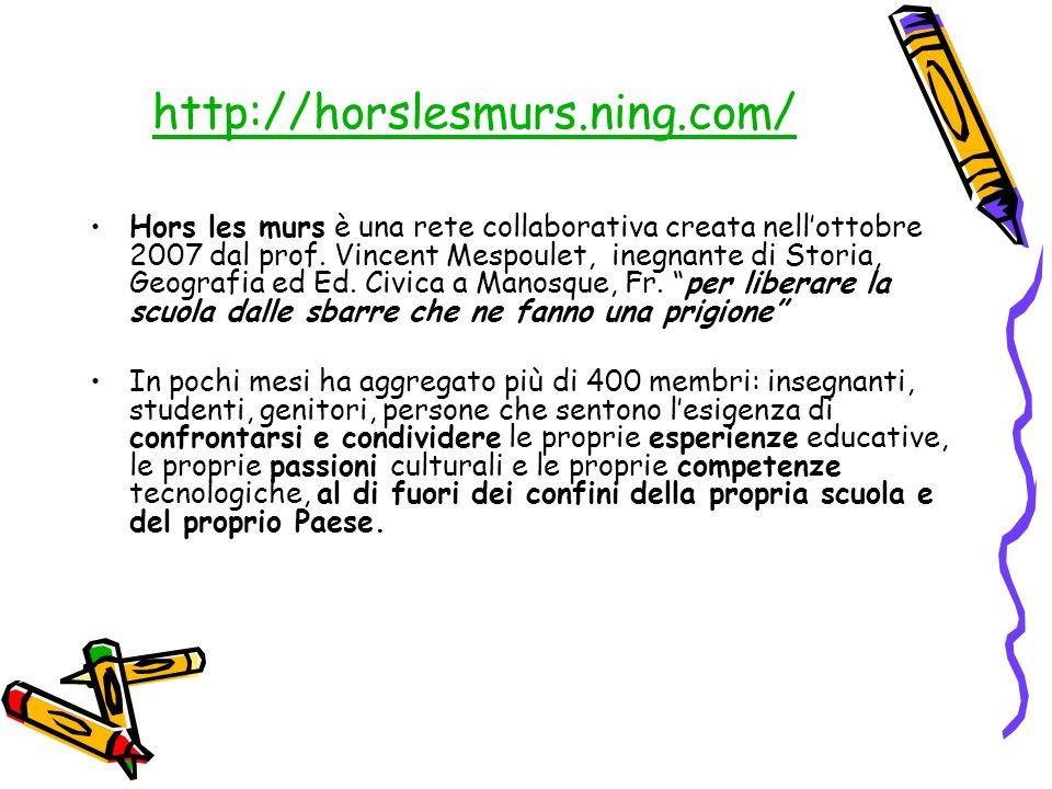 http://horslesmurs.ning.com/ Hors les murs è una rete collaborativa creata nellottobre 2007 dal prof. Vincent Mespoulet, inegnante di Storia, Geografi