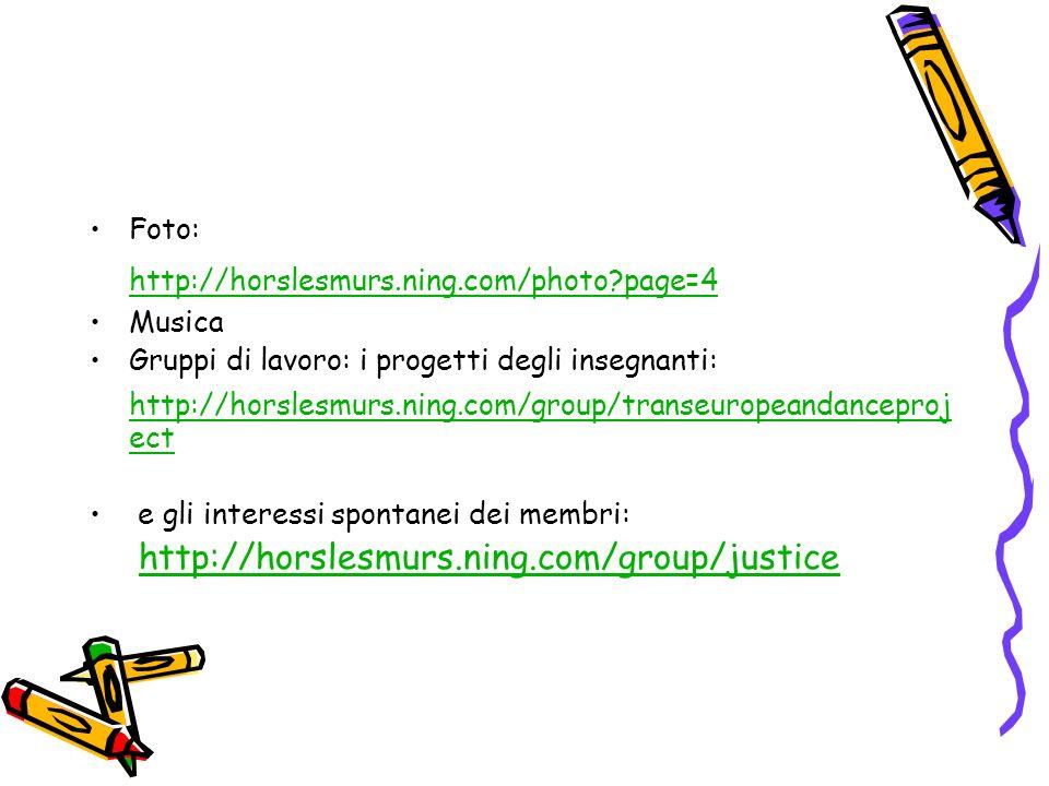 Foto: http://horslesmurs.ning.com/photo?page=4 Musica Gruppi di lavoro: i progetti degli insegnanti: http://horslesmurs.ning.com/group/transeuropeanda