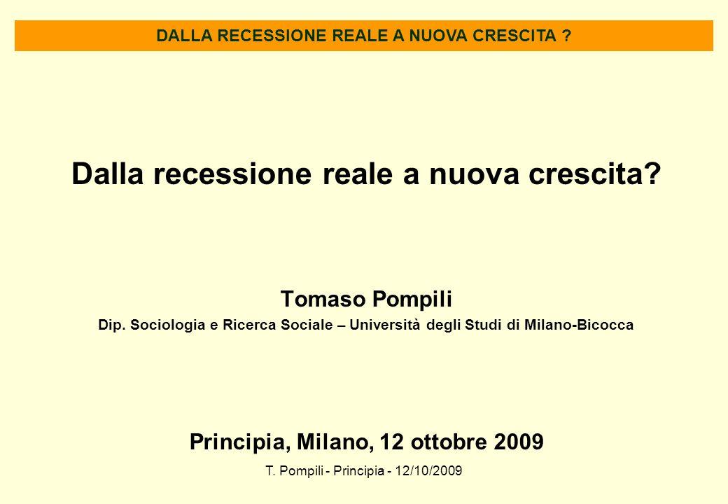 T. Pompili - Principia - 12/10/2009 Dalla recessione reale a nuova crescita? Tomaso Pompili Dip. Sociologia e Ricerca Sociale – Università degli Studi
