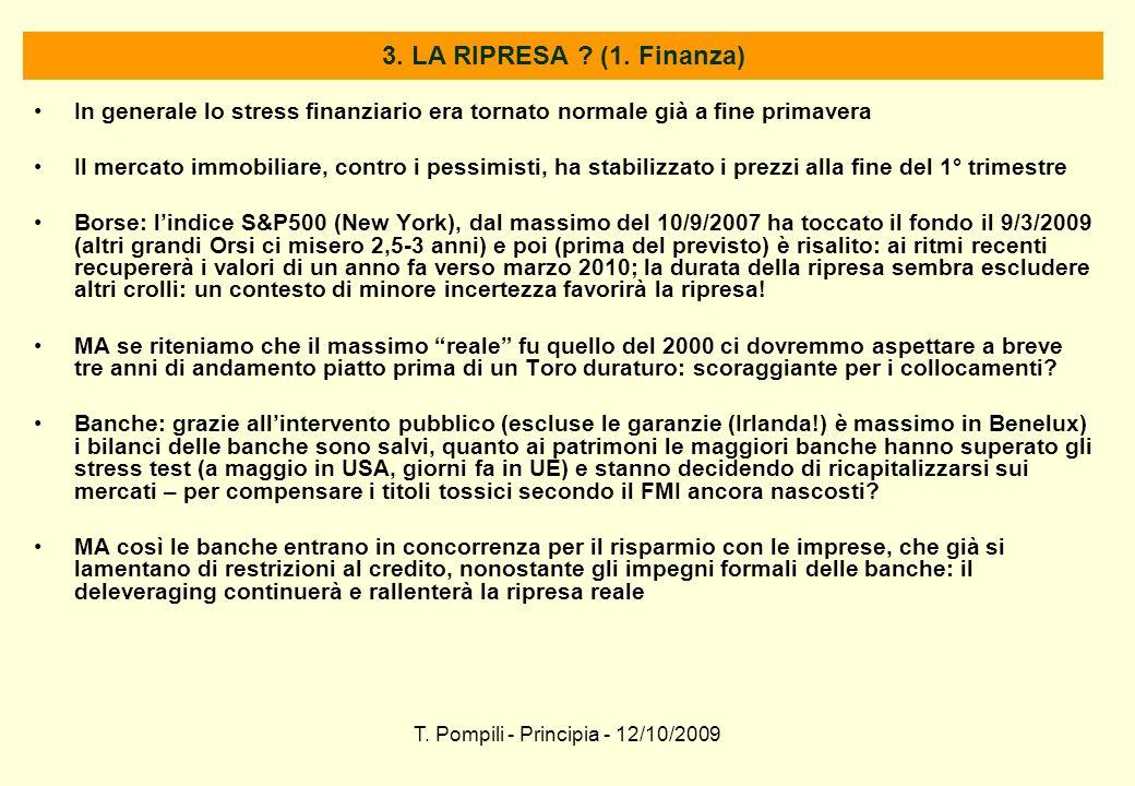 T. Pompili - Principia - 12/10/2009 3. LA RIPRESA ? (1. Finanza) In generale lo stress finanziario era tornato normale già a fine primavera Il mercato