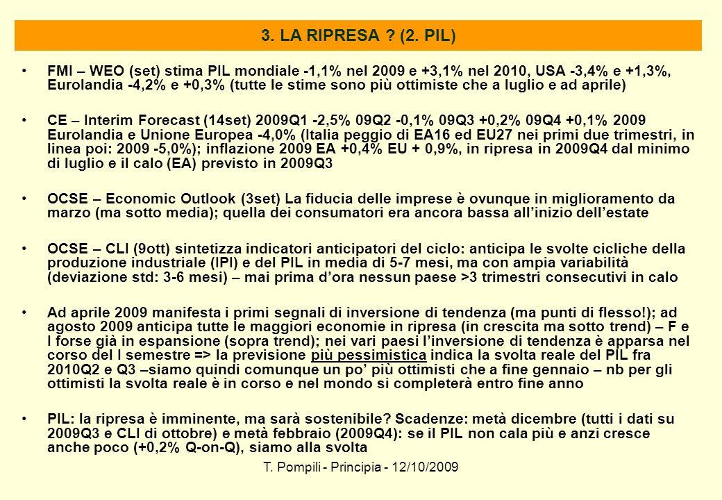 T. Pompili - Principia - 12/10/2009 3. LA RIPRESA ? (2. PIL) FMI – WEO (set) stima PIL mondiale -1,1% nel 2009 e +3,1% nel 2010, USA -3,4% e +1,3%, Eu