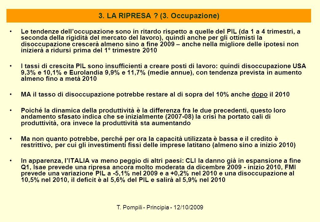 T. Pompili - Principia - 12/10/2009 3. LA RIPRESA ? (3. Occupazione) Le tendenze delloccupazione sono in ritardo rispetto a quelle del PIL (da 1 a 4 t