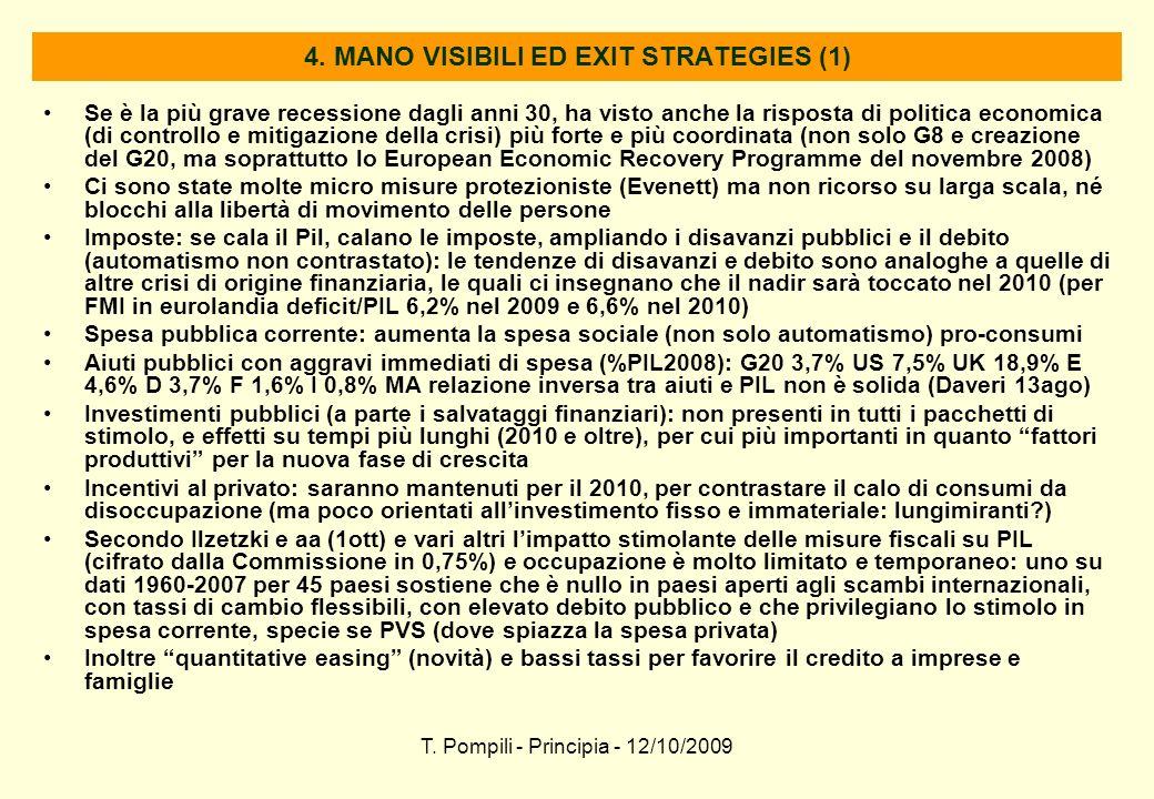 T. Pompili - Principia - 12/10/2009 4. MANO VISIBILI ED EXIT STRATEGIES (1) Se è la più grave recessione dagli anni 30, ha visto anche la risposta di