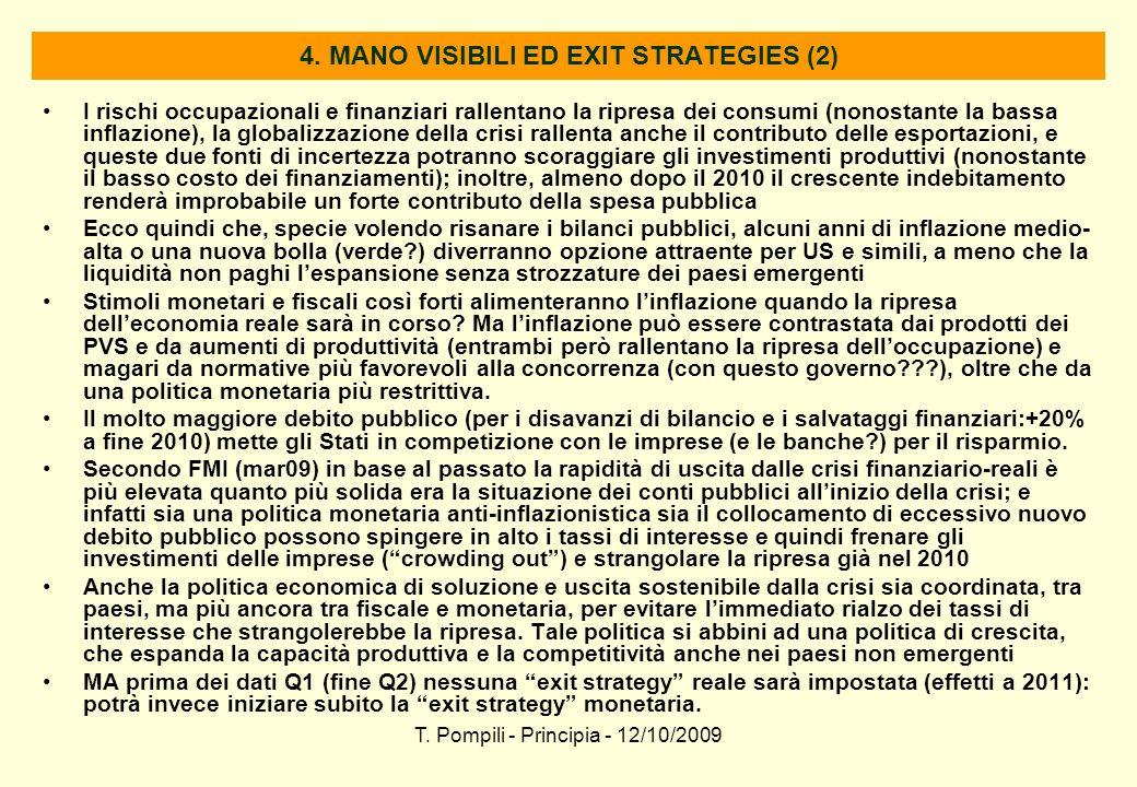 T. Pompili - Principia - 12/10/2009 4. MANO VISIBILI ED EXIT STRATEGIES (2) I rischi occupazionali e finanziari rallentano la ripresa dei consumi (non