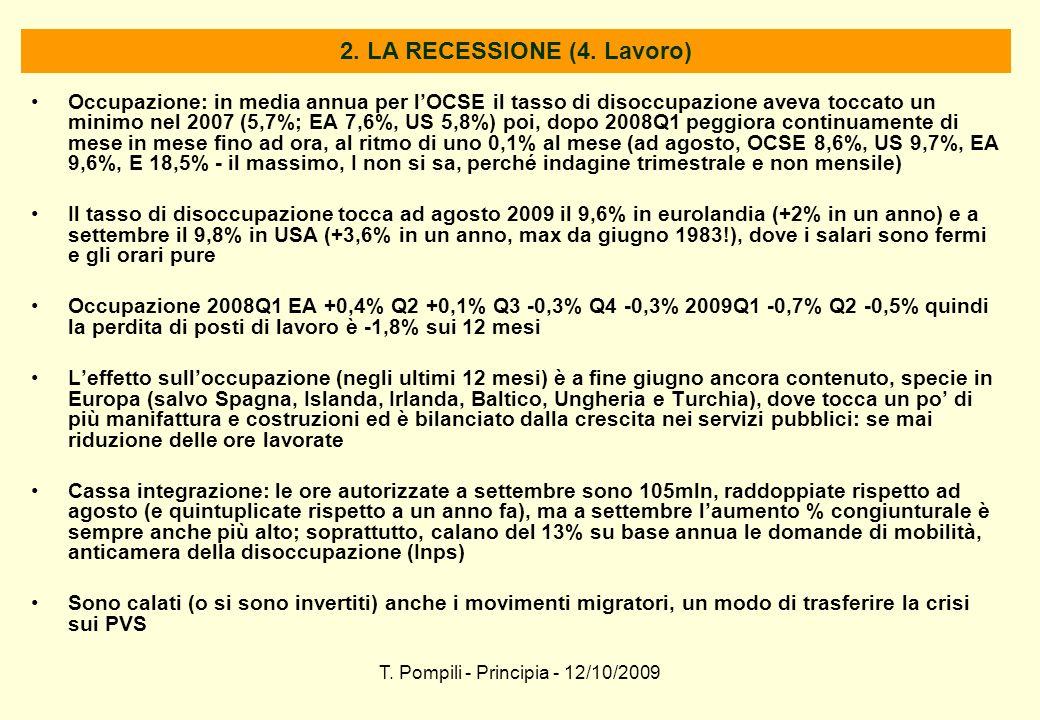 T. Pompili - Principia - 12/10/2009 2. LA RECESSIONE (4. Lavoro) Occupazione: in media annua per lOCSE il tasso di disoccupazione aveva toccato un min