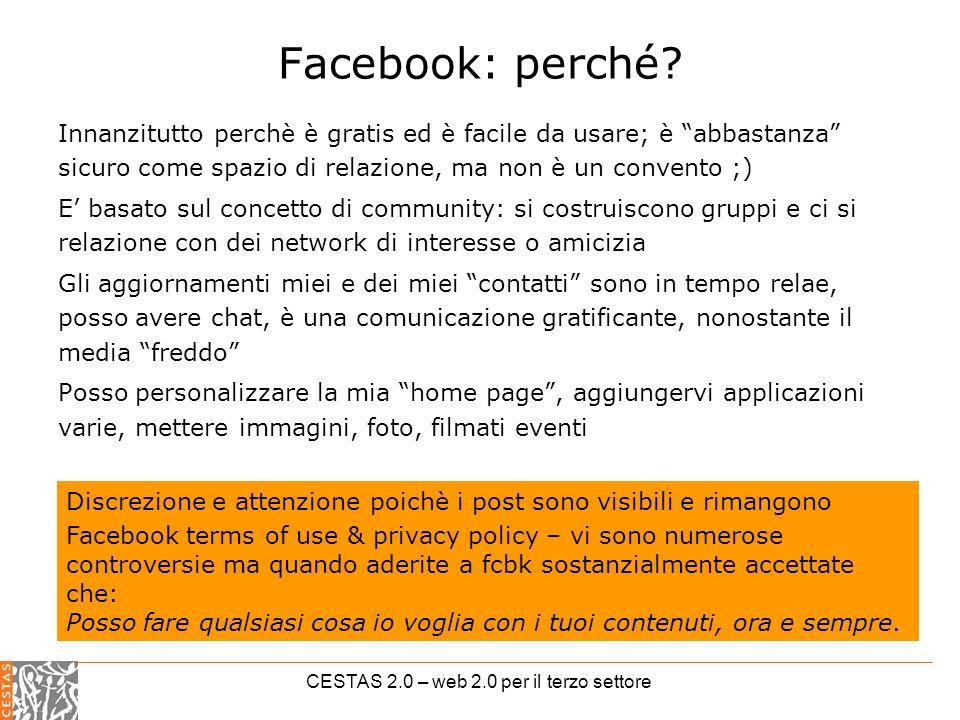 CESTAS 2.0 – web 2.0 per il terzo settore Facebook: perché.
