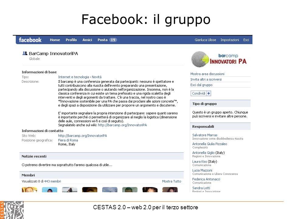 CESTAS 2.0 – web 2.0 per il terzo settore Facebook: il gruppo