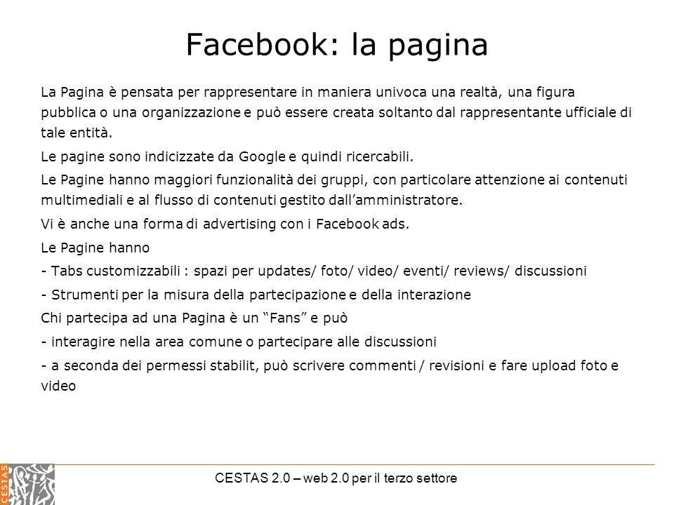 CESTAS 2.0 – web 2.0 per il terzo settore Facebook: la pagina La Pagina è pensata per rappresentare in maniera univoca una realtà, una figura pubblica o una organizzazione e può essere creata soltanto dal rappresentante ufficiale di tale entità.