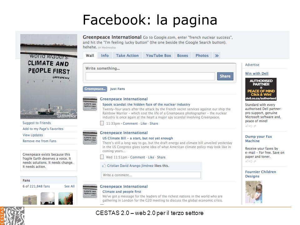 CESTAS 2.0 – web 2.0 per il terzo settore Facebook: la pagina