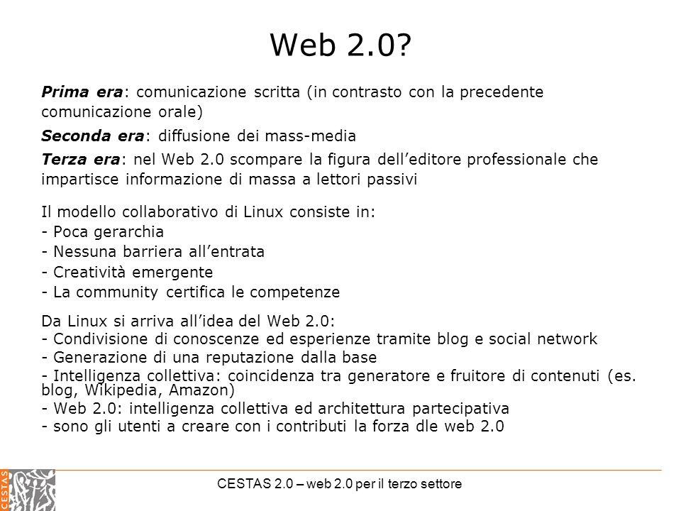 CESTAS 2.0 – web 2.0 per il terzo settore Web 2.0.