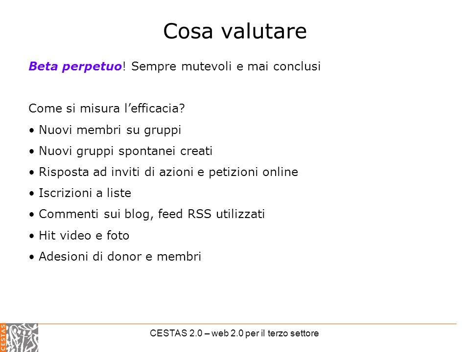 CESTAS 2.0 – web 2.0 per il terzo settore Cosa valutare Beta perpetuo.