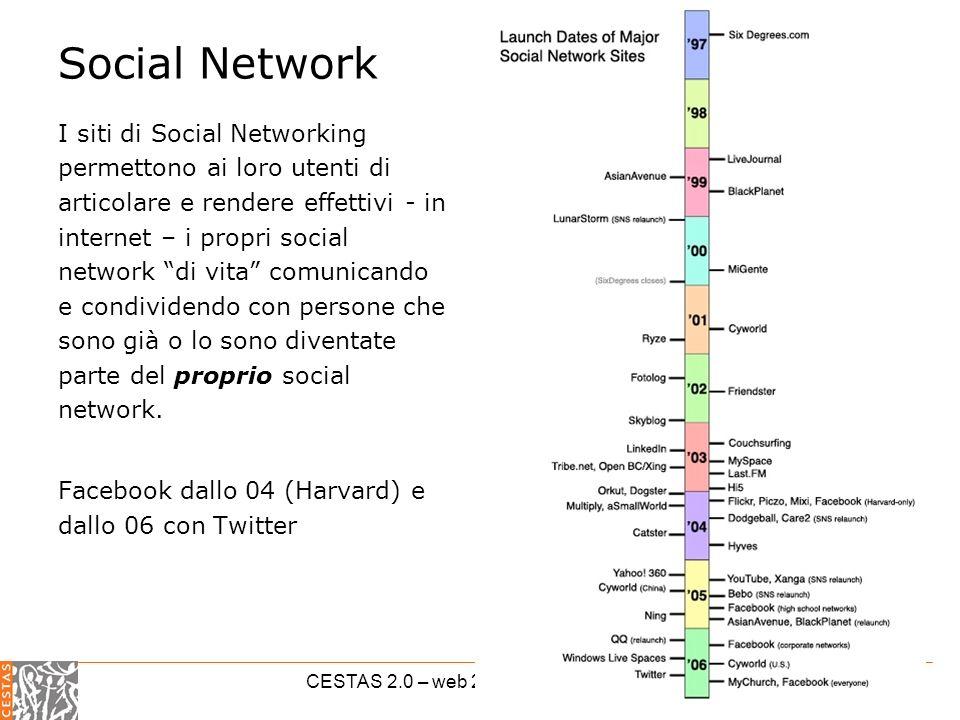 CESTAS 2.0 – web 2.0 per il terzo settore Social Network I siti di Social Networking permettono ai loro utenti di articolare e rendere effettivi - in internet – i propri social network di vita comunicando e condividendo con persone che sono già o lo sono diventate parte del proprio social network.