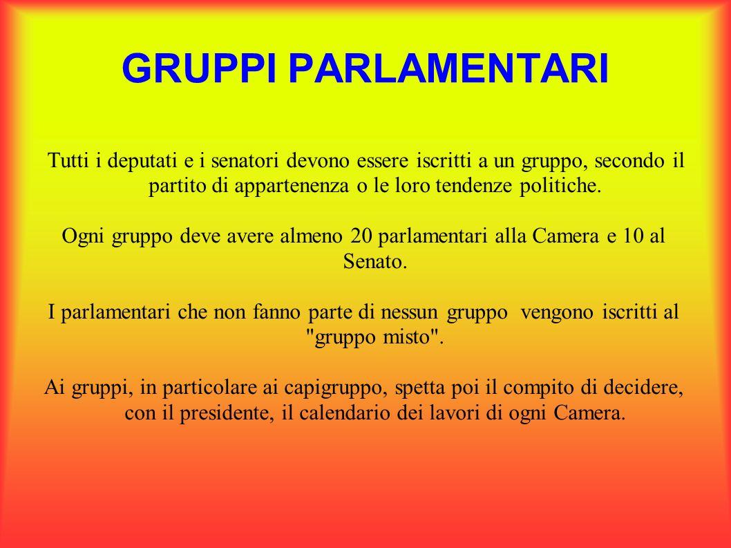 GRUPPI PARLAMENTARI Tutti i deputati e i senatori devono essere iscritti a un gruppo, secondo il partito di appartenenza o le loro tendenze politiche.
