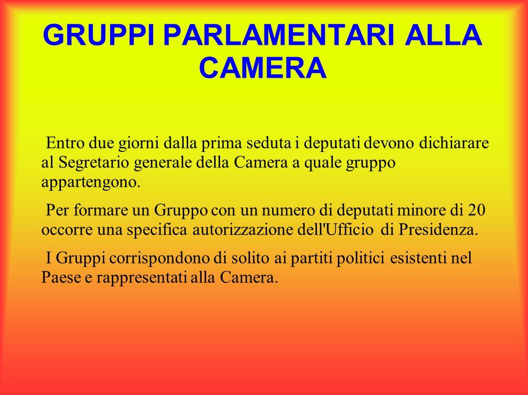 GRUPPI PARLAMENTARI ALLA CAMERA Entro due giorni dalla prima seduta i deputati devono dichiarare al Segretario generale della Camera a quale gruppo ap